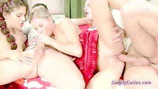 Two Brunette Teen Sluts Enjoy Foursome