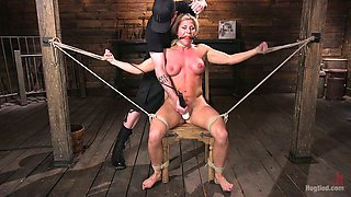 Sizzling blonde Ariel X is punished hard in the dark room