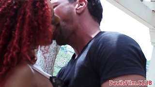 Black redhead babe assfucked after sucking