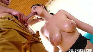 Chrissy sucks a hard cock and welcomes it in her fleshy pussy