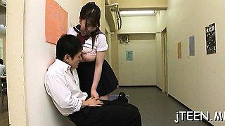 Breathtaking schoolgirl gives steamy blow job and eats jizz