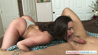 Hot brunette harlot Kendra Lust involved Derrick Pierce in foreplay