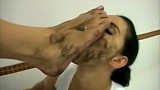 Dirty feet worship at toilet