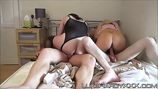 busty uk milfs in sexy lingerie slammed in rough foursome