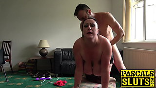 Horny bitch slapped while gagging on cock and doggy styled