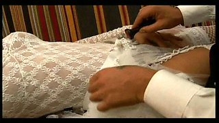 Sassy brunette bride Alejandra fucks her horny groom