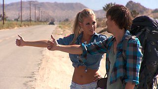 Samantha Saint with fake tits gets her twat screwed doggystyle in an outdoors scene