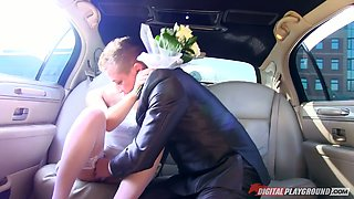 Sexy bride Ornella Morgan fucks her groom and his best man