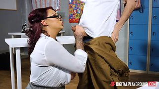 hot teacher milf rides a young horny student