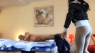 Hussy young maids tease and fuck an old servant