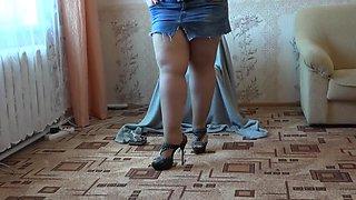 beautiful BBW in nylon pantyhose, smokes and masturbates with dildo