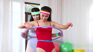 Lesbians Works Out Hula Hoops At Gym