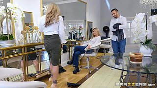 slutty husband cheats on his wife with a seductive salon manager
