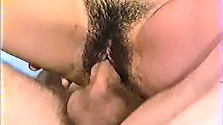Beautiful brunette with really hairy twat gives amazing head