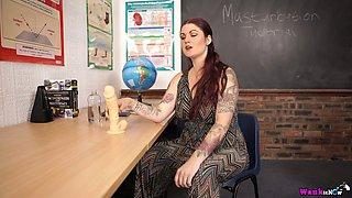 Attractive busty teacher Miss Selene shows off her full natural boobies