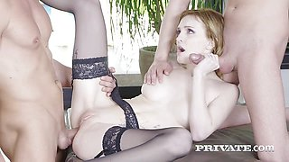 Sexy Belle Claire Dons Lingerie For DP Threeway
