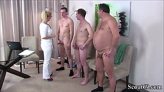 German MILF Nurse fuck with 3 Stranger at Pattern