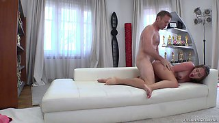 Pallid natural whore Zoe Doll gets brutally fucked doggy by Rocco