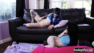 Two emo sisters Holly and Lydia shared a big hard cock