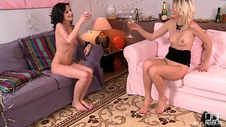 Hot Wiska and her hot friend get fucked on the floor by a friend