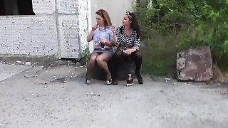 Stocking mask on drunk girl pissing