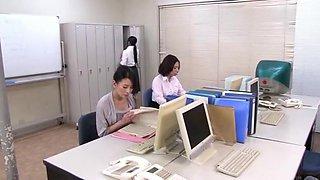 Crazy Japanese chick Mira Hasegawa, Rei Kitajima, Haruna Saeki in Incredible Cougar, Office JAV clip