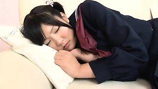 Sweet Japanese schoolgirl gets her hairy peach nailed deep