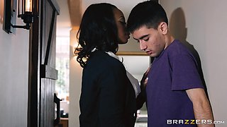 ebony milf seduces stepson's friend