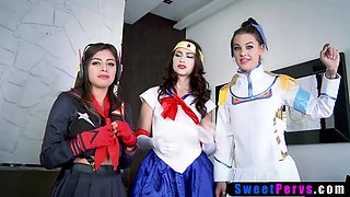 Cosplay teen BFFs taboo foursome fuck with stepbro