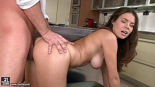 Amazing brunette Bonnie Shai gets all her holes drilled in the kitchen