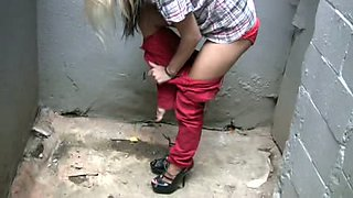 Cute Russian blonde hottie was caught pissing in public