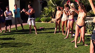 Reality swingers pool party before group