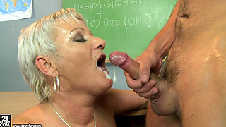 granny teacher Cecily ass licking her student